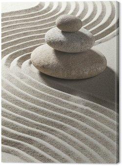 Tableau sur Toile Onde zen sur sable et galets Trois
