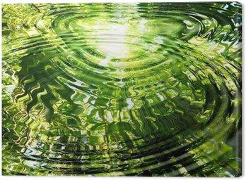 Tableau sur Toile Ondulations sur l'eau: reflet de la forêt de bambou