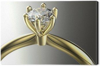 Tableau sur Toile Or Bague de fiançailles avec diamant. Bijoux fond