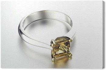 Tableau sur Toile Or Bague de fiançailles avec diamant ou moissanite