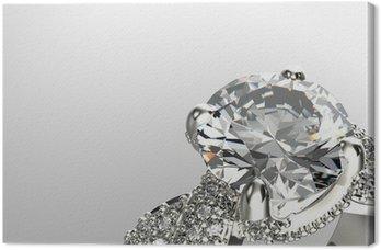 Tableau sur Toile Or Bague de fiançailles de diamant ou de moissanite. Bijoux