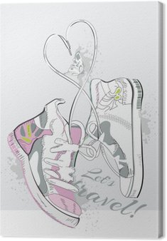 Tableau sur Toile Paire de baskets à lacets en forme de coeur. Hand drawn illustration vectorielle.