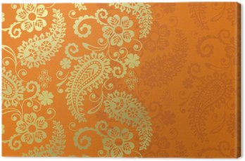 Tableau sur Toile Paisley motif floral, textile, Rajasthan, Inde royale