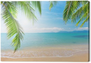 Tableau sur Toile Palm et plage tropicale
