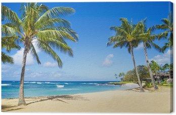 Tableau sur Toile Palmiers sur une plage de sable à Hawaii