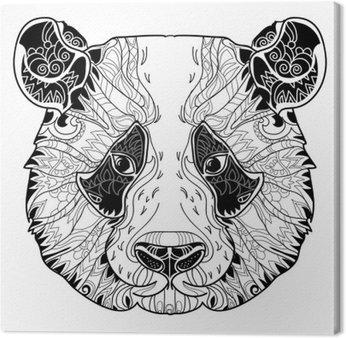 Tableau sur Toile Panda tête doodle sur fond blanc.
