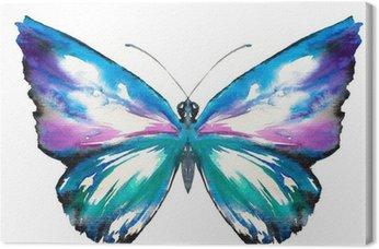 Tableau sur Toile Papillon aquarelle peinte.