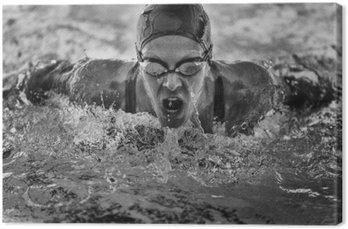 Tableau sur Toile Papillon champion de natation de course
