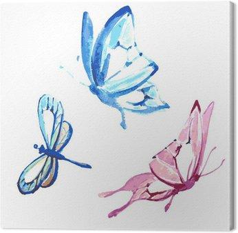 Tableau sur Toile Papillon, conception d'aquarelle