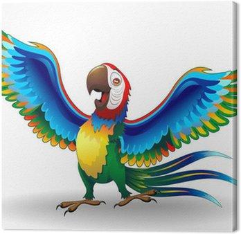 Tableau sur Toile Pappagallo Ara Cartoon-Funny-Macaw Parrot Vecteur