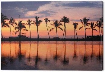 Tableau sur Toile Paradise Beach coucher du soleil tropical de palmiers