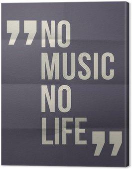 """Tableau sur Toile """"Pas de music no life"""" citation sur plié en huit fond de papier"""
