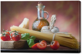 Tableau sur Toile Pâtes italiennes avec des ingrédients de base