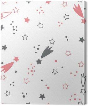 Tableau sur Toile Pattern mignon avec des étoiles. Space background