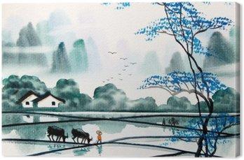 Tableau sur Toile Paysage chinois aquarelle painting__