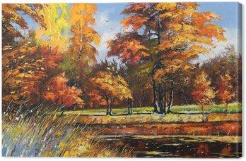 Tableau sur Toile Paysage d'automne sur la rive de la rivière