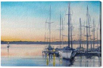 Tableau sur Toile Paysage d'été avec des bateaux à voile dans la baie.