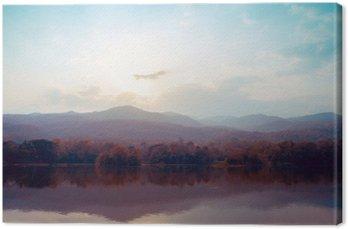 Tableau sur Toile Paysage de montagnes de lac en automne - style vintage.