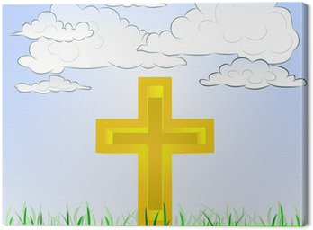 Tableau sur Toile Paysage herbeux avec le symbole de la religion et le ciel vecteur