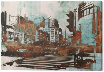Tableau sur Toile Paysage urbain avec grunge abstraite, illustration peinture