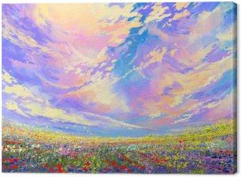 Tableau sur Toile Peinture de paysage, des fleurs colorées dans le champ sous de beaux nuages