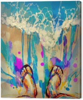 Tableau sur Toile Peinture de pieds colorés avec des bascules sur la plage de sable