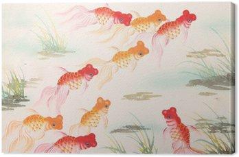 Tableau sur Toile Peinture poisson rouge chinois