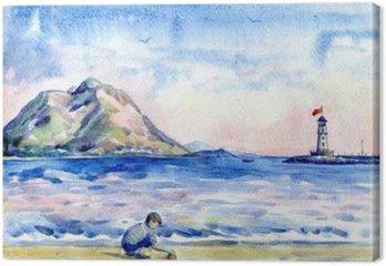Tableau sur Toile Petit garçon sur la plage. Seascape avec le phare. La peinture à l'aquarelle