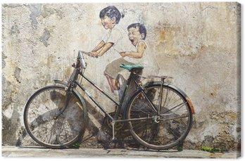 """Tableau sur Toile """"Petits enfants sur un vélo"""" peint."""