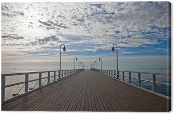 Tableau sur Toile Pier dans la matinée. Orlowo, Pologne.
