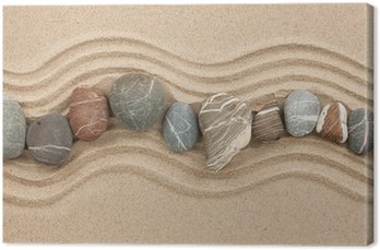 Tableau sur Toile Pierres rayé sur le sable