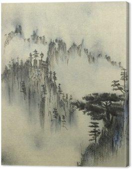 Tableau sur Toile Pin ponderosa et le brouillard