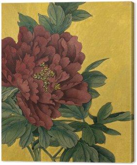 Tableau sur Toile Pivoine fleur sur un fond d'or