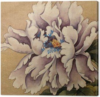 Tableau sur Toile Pivoine fleur sur un fond jaune