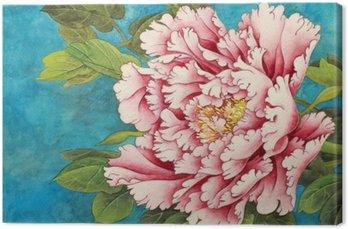 Tableau sur Toile Pivoine rose sur un fond bleu