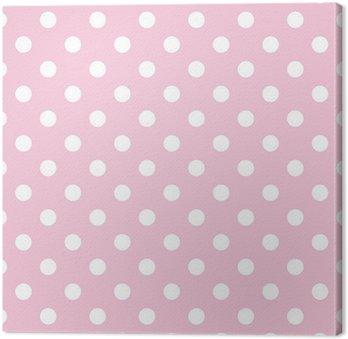 Tableau sur Toile Pois sur fond rose bébé rétro modèle vectoriel transparente