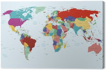 Tableau sur Toile Political map of the world
