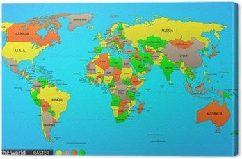Tableau sur Toile Political map world