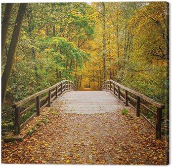 Tableau sur Toile Pont dans la forêt d'automne