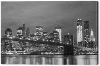 Tableau sur Toile Pont de Brooklyn et Manhattan Skyline At Night, New York City