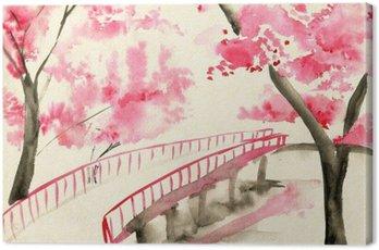 Tableau sur Toile Pont entre les cerisiers en fleurs, paysage de style chinois