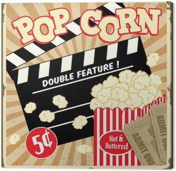 Tableau sur Toile Popcorn avec clap et des billets de cinéma affiche vintage