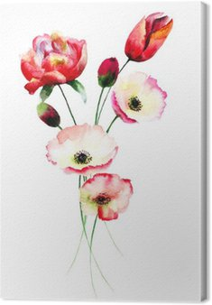 Tableau sur Toile Poppy et Tulipes fleurs