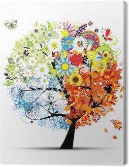 Tableau sur Toile Quatre saisons - printemps, été, automne, hiver. Art tree