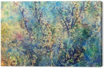 Tableau sur Toile Rameaux en fleurs et grunge aquarelle désordre éclaboussures