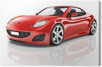 Tableau sur Toile Red 3D voiture de sport