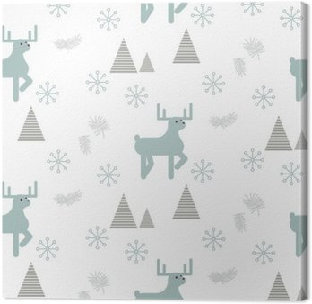 Tableau sur Toile Renne dans un vecteur seamless de la forêt enneigée. blanc de style scandinave et bleu pastel fond.