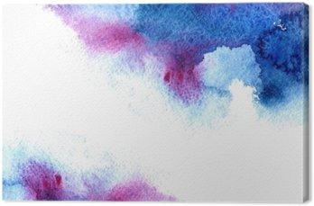 Tableau sur Toile Résumé bleu et violet aqueuse frame.Aquatic backdrop.Hand aquarelle dessinée splash stain.Cerulean.
