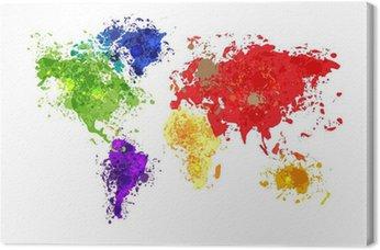Tableau sur Toile Résumé carte du monde de fond dans le style polygonal