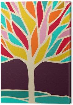 Tableau sur Toile Résumé illustration d'arbre avec des branches colorées